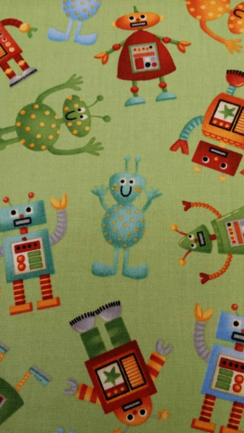 Space alien makower fabric kids fabric one yard cut by for Alien fabric