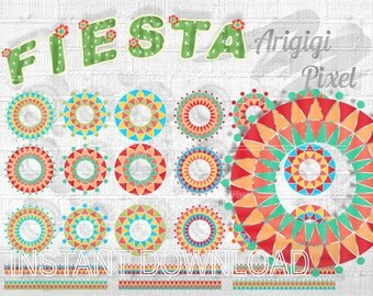 Cinco de Mayo clipart circles - Fiesta clip art - Mexican clipart - festive circles tapes and papers digital elements