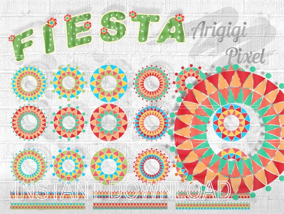 Cinco de Mayo clipart set - Mexican Fiesta festive circles, tapes and papers digital elements