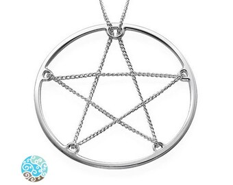 In Chains Pentagram Star Sterling Silver Necklace