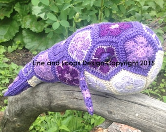 Line and Loops' Purdy the African Flower Crochet Whale Pattern