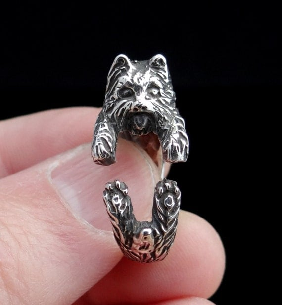 ... Silver Ring, Dog Ring, Adjustable Ring, Yorkie, Dog Jewelry, Puppy