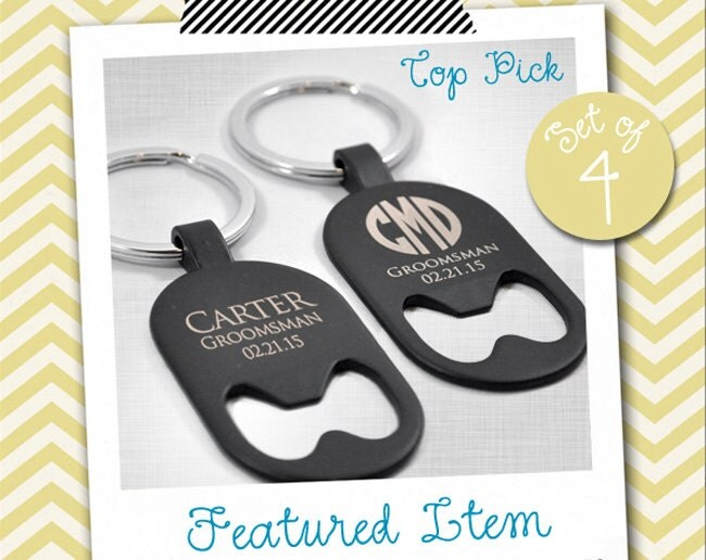 groomsmen gift 4 personalized bottle opener key chain custom. Black Bedroom Furniture Sets. Home Design Ideas