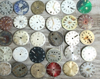 vintage watch faces ...  set of 30  watch faces USSR ...  watches dials ... circle dials ... Old Vintage watch parts ... steampunk supplies