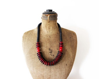 Long Black Bead Necklace, Black & Red Bead Necklace, Long Black Necklace, Black Wood Bead Necklace, Black Wood Necklace