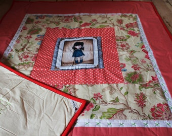Crib size patchwork quilt. Doll, flowers.
