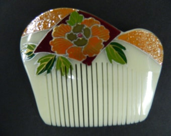 Vintage hand painted hair comb accent updo chignon