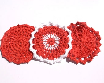Crochet Cotton Cloths (Set of 3 - Great for Bath, Spa or Kitchen)