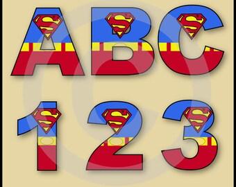 Superman (Justice League) Alphabet Letters & Numbers Clip Art Graphics
