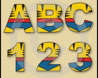 Wolverine (X-Men) Alphabet Letters & Numbers Clip Art Graphics
