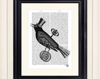 Steampunk Crow Art Print, wall art wall decor upcycled recycled dictionary book page, Rook Raven Steampunk Bird Top Hat
