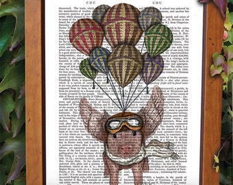 Flying Pig And Balloons - Pig with Wings aviator pig decor pig art pig print pig illustration pig picture pig painting hot air balloon print