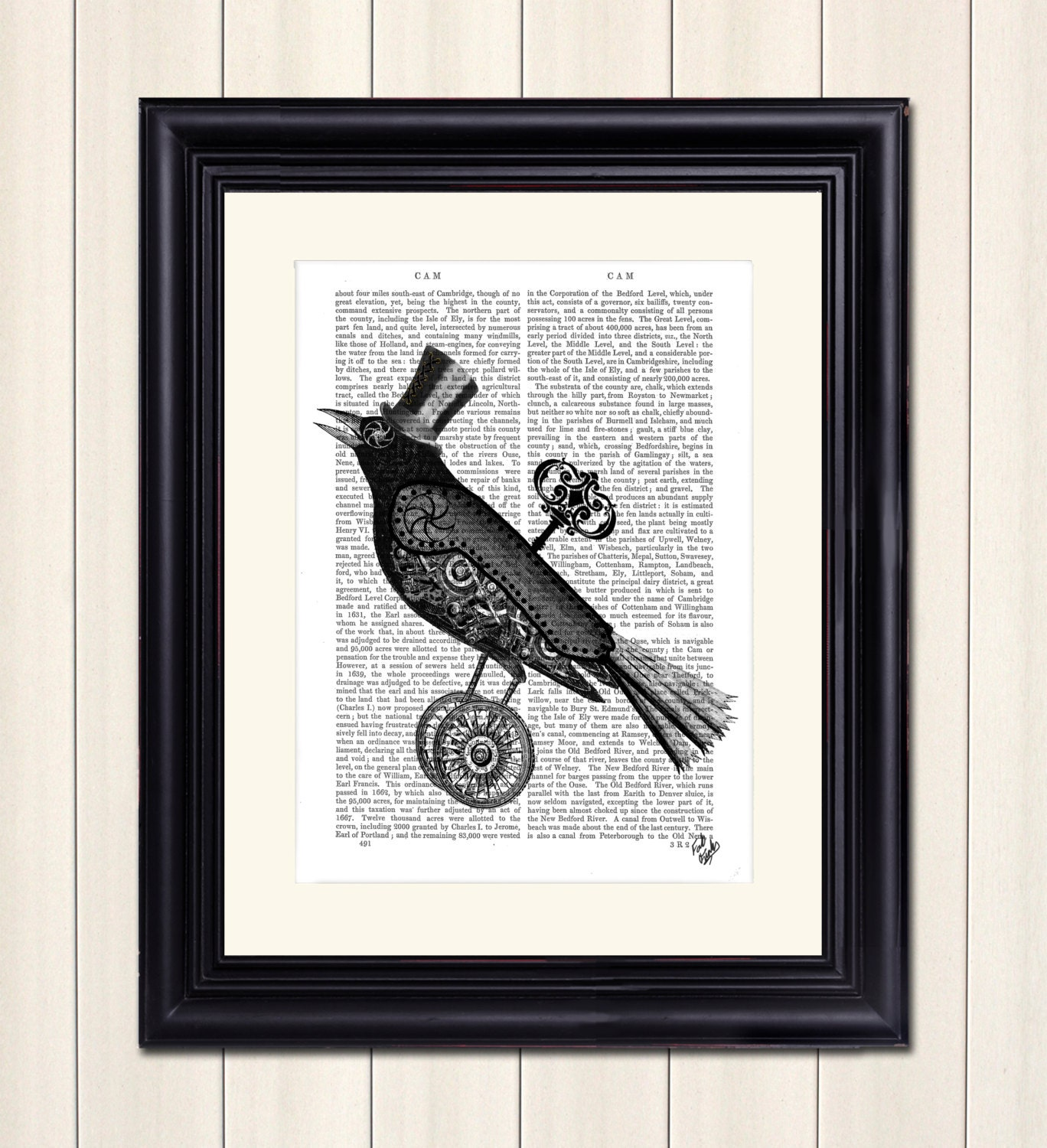 steampunk crow art print wall art wall decor upcycled. Black Bedroom Furniture Sets. Home Design Ideas