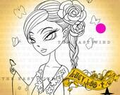 Digital Stamp- 'Lucy Loo' Flower Goddess - 300dpi JPEG/ PNG - MAC0048