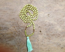 GRATITUDE 108 mala beads - new jade with 22K gold beads and mint tassel FEELS AMAZING to hold and to wear, prayer beads, yoga necklace