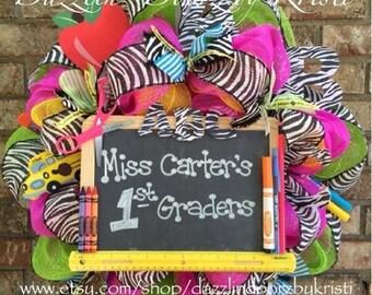 Brightly Colored Zebra ABC Teacher Wreath