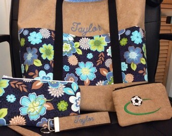 Personalized Tote/Wristlet/Change Purse/Keychain Gift Set