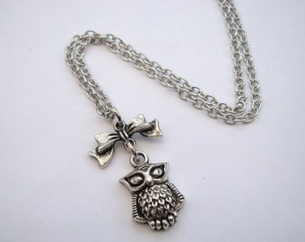 Silver owl necklace antique silver bow on chain - owl jewellery - vintage inspired cute jewelry