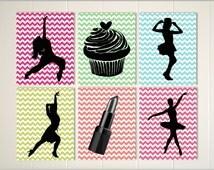 Teen girl wall art, cupcake wall art, lipstick wall art, dance art, ballerina room, ballet art, jazz art, custom colors