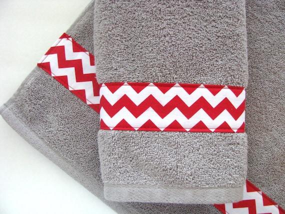 Red And Grey Towels Hand Towels Towel Sets Bath Towels