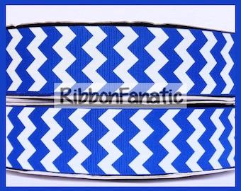 "5 yds 1.5"" Bright Electric Blue Chevron Stripe Striped Grosgrain Ribbon"