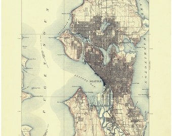 Seattle 1909 - Old Topographical Map - Puget Sound - Reprint - USGS  - 15x15 Washington