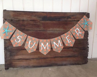 SUMMER Burlap Banner with starfish