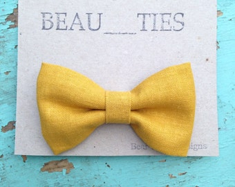 Adult clip-on bow tie mustard yellow linen