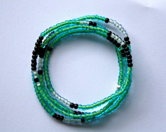 Seed Bead Wrist Wrap or Necklace - Green