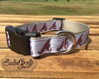 Atlanta Braves baseball dog collar - Blue and Red