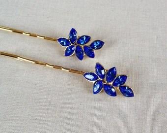 Last few!  Royal blue sparkling rhinestone leaf bobby pins, jewelry, hair, wedding, hair slide, bridesmaid gift, blue, bridal, hair pin