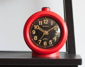 Red Alarm Clock, Soviet Desk Clock, Jantar Soviet Union Home Decor, Office Decor Plastic Case, Black Red Love, Gift for him