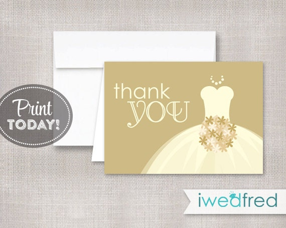 Printable Thank You Thank You Note Printable Bridal Shower