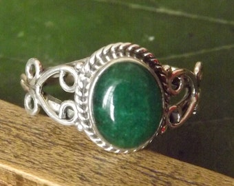 Emerald Ring Solid 925 Sterling Silver Pure Handmade Size: Variable (5, 6, 7, 8, 9, 10) Exclusive Budget Ring XL Size available