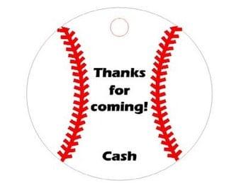 Digital Baseball Party Favor Tags, Printable Baseball Party Tags,Baseball Theme Birthday Party Printable PDF file, Baseball Banquet Gift Tag