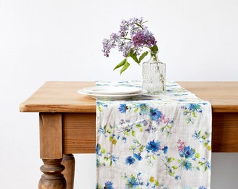 Summer Flowers Stone Washed Linen Table Runner