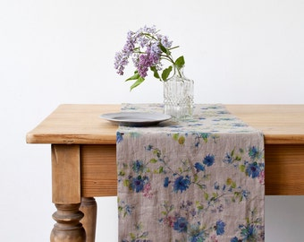 Natural Flowers Stone Washed Linen Table Runner