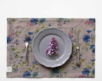 Natural Flowers Stone Washed Linen Placemat