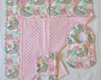 SALE! - Pink Baby Blanket, Bib and Burp Cloth Gift Set