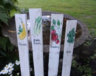 Rustic Vegetable Garden Markers Stakes Custom Hand Painted on Weathered Fence // Set of 4