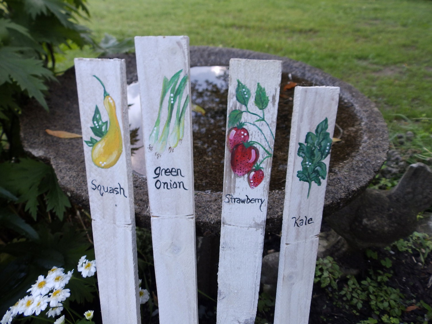 Rustic Vegetable Garden Markers Stakes Custom Hand Painted on
