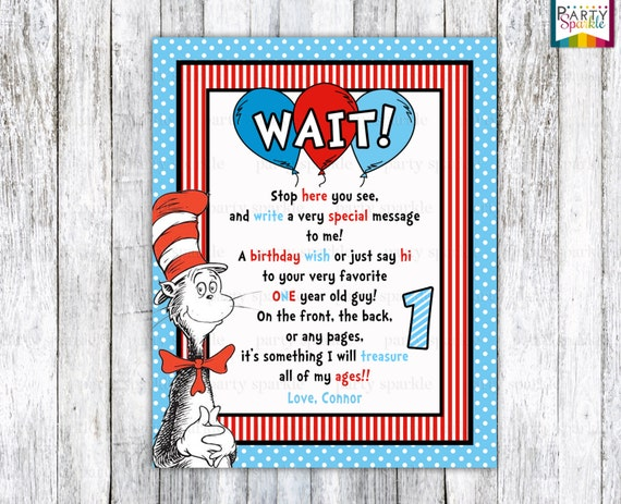 Guest Book Cover Printable : Printable cat in the hat birthday personalized guest book