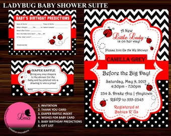 ladybug baby shower lady baby shower invitation suite digital file