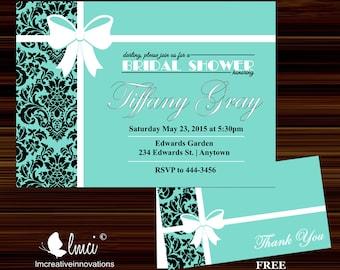 Blue Bridal Shower Invitation, Damask Bridal Shower Invitation - Digital File