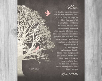 Gift from Daughter FOR MOM Wedding Gift for Mother Of The Bride from Daughter Mom Gift From Daughter Poem Mother Art Print Personalized
