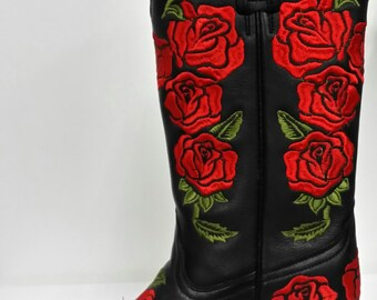 Corral Boots Black-Red Rose Embroidery