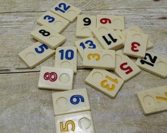 Rummy Tiles,  20 Vintage Rummikub, Game pieces, destash, repupose, mixed media, vintage game