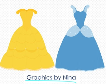 INSTANT DOWLOAD  Princess Dresses Candy clipart  Scrapbook for Personal and Commercial Use