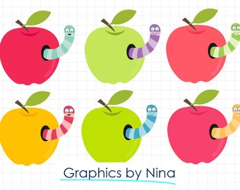 INSTANT DOWLOAD   Apples with worms Clipart  Scrapbook for Personal and Commercial Use