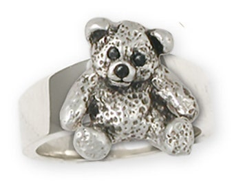 Sterling Silver Teddy Bear Charm Ring Jewelry  TB16-CR